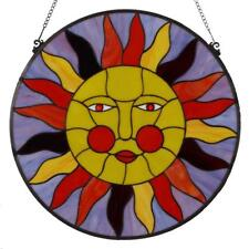 Bieye 22 inches Sun Face Tiffany Style Stained Glass Window Panel