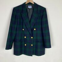 Pendleton Womens Size 12 Green Blue Plaid Blazer with Gold Buttons Shoulder Pads