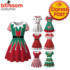 K968 Snowman Christmas Vintage Swing Flare Dress 50s Snowflake Xmas Rockabilly