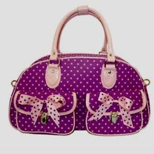 Polka Dot Duffle Bag/Overnight Bag W/Beautiful Polka Dot Ribbon Bows-Purple/Pink