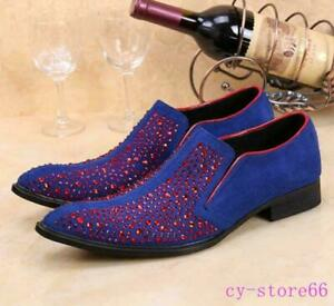 Mens sapphire red rhinestones formal dress wedding shoes pointed toe loafer US 8