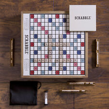 Scrabble Deluxe Vintage Edition with Rotating Turntable Wood Word Board Game New