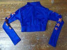 Real Authentic Team Cheer Cheerleading Body Suit Crop Top Undershirt Blue Orange