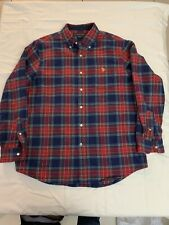us polo assn mens light weight flannel plaid shirt size (L)