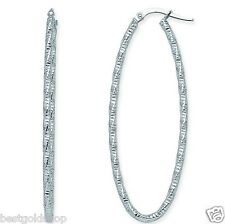 "2"" Diamond Cut Sparkle Twisted Oval Hoop Earrings Real 14K White Gold 1.9gr"
