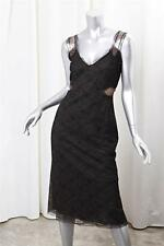 AKRIS Womens Black+Brown Lace Fitted Sleeveless Knee Length Pencil Dress 4 NEW