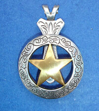 Western Jewelry Antique Silver/Gold Engraved Star Concho Pendant Kit