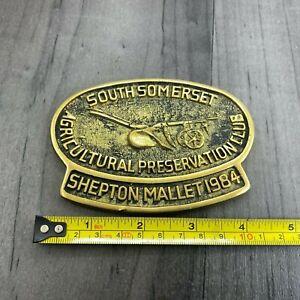 Vintage Brass Plaque Agricultural Preservation Club Shepton Mallet 1984