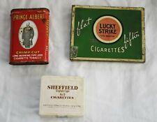 VINTAGE Cigarette Tin Box LUCKY STRIKE/ SHEFFIELD No. 5/PRINCE ALBERT collection