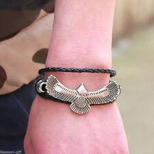 GIFT Men Eagles Charm Leather Bracelet Surf Wrap Cuff Wristband Bangle