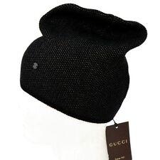 GUCCI New sz L Auth Designer Mens GG Ski Beanie Wool Cashmere Hat black beige