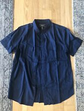 Forever21 Medium Shirt Button Down Top Navy Dark Blue Short Sleeve Pocket Cotton
