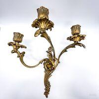 """Antike Wandlampe, Wandleuchter, Kerzenhalter aus Messing """"Rosen"""" 3-armig Barock"""
