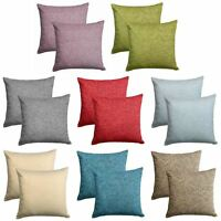 "Set of 2 Chenille Cushion Covers Luxury Plain Cushions Cover Pairs 18"" x 18"""