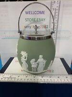 Vintage Wedgwood Sage Green Dip Jasperware Globe Biscuit Jar