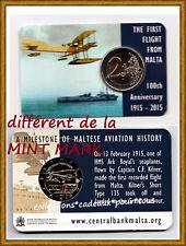 "MALTE - 2 Euro commémorative 2015 "" 1ER VOL ""- COINCARD"