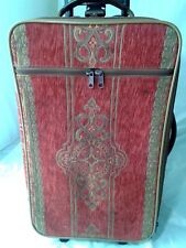 """Vintage Boyt Gevive Tapestry Red 21"""" Wheeled Upright Carry-on Suitcase 22"""""""