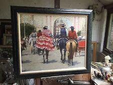 SUPERB ORIGINAL DENNIS SYRETT Dressed in Red Seville Spanish Horse OIL PAINTING