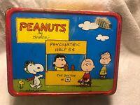 Vintage 1973 Thermos Peanuts Schulz Comic Metal Lunchbox Psychiatric Help Snoopy