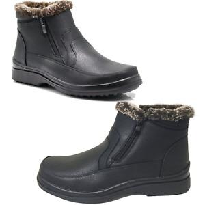 MEN Black Winter Ankle Snow Boots Comfort Zipper Slip On Loafer Fur Lined Boots