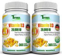 Vitamin D3-20000iu. 2X 365=730 Softgel-Kapseln mit 20000 I.E 500ug.
