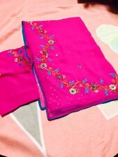 """Georgette pink saree with thread work. Stitched blouse 34""""size."""