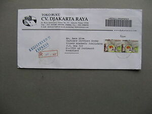 INDONESIA, R-cover to the Netherlands 2003, high values pair flower daffodil