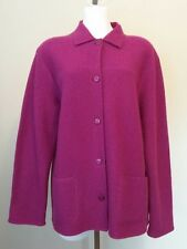 Alfred Dunner Raspberry Pink 100% Wool Unlined Button Front Jacket Size Medium