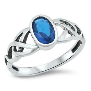 CELTIC SAPPHIRE CZ ~ Genuine 925 STERLING SILVER RING ~ Size 7 8 9 10 11 12