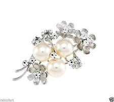Flower Brooch Made With Swarovski Crystal Clear Charm Pearl New Pin Wedding