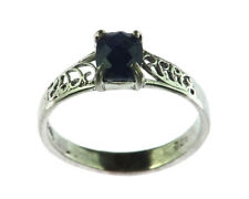 Blue Sapphire Natural Genuine Gemstone Sterling Silver Ring RSS,1006