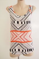 VERONIKA MAINE Printed Silk Scoop Neck Shaped Hem Tank Sz 14 EXCELLENT CONDITION