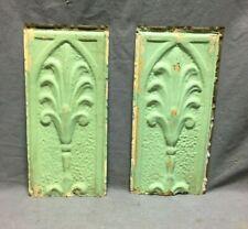 "Pair Antique Tin Metal Ceiling  6"" x 13"" Crafts VTG Old Floret Green 1225-20B"
