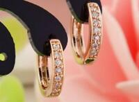 18K REAL ROSE GOLD FILLED HOOP EARRINGS MADE WITH SWAROVSKI CRYSTALS MOTHER GIFT