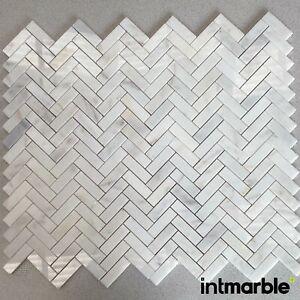 Calacatta Polished Herringbone Marble Mosaic Natural Stone Floor Wall 23x75x10mm