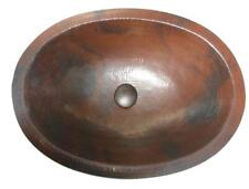 """Oval 19"""" Hand Hammered Copper Bathroom Vanity Sink with Pop-Up Drain"""