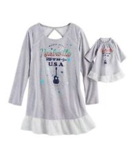 Real American Girl & Matching Doll Tenney Grant Gray Guitar Nightgown Small 5/6