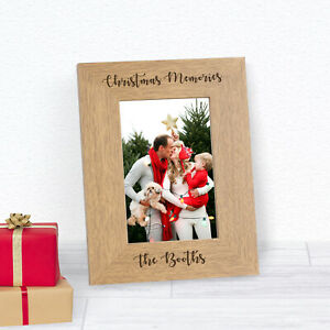 Personalised Engraved Christmas Memories Wood Frame 6x4 Gift