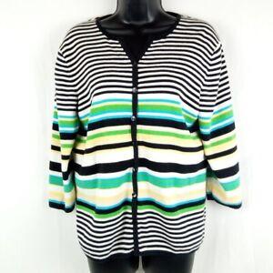 Hampshire Studio 100% Cotton Sweater Women Size Medium Striped