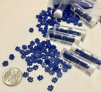 15 Tiny Dark Blue Flower Buttons in Tube 6-7mm Dolls Miniatures L0057 AUS SELLER
