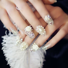 24pcs Wedding False Nails Oval Nail Tips for Party Flower Beads Rhinestone Decor