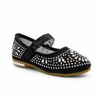 Childrens Girls Diamante Kids Wedding Party Mary Jane Shoes Bridesmaid Flat Size