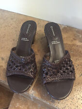 Rockport Size 11M Womens Brown woven slip on mules K55997