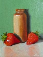 Oil Painting canvas Strawberries & Pot. Classical Still Life Original. J Smith