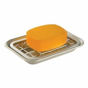 mDesign Metal Kitchen Soap Dish Tray, Drainage Grid & Holder - Satin