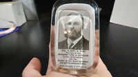 Col. Albert Pope Glass Paperweight Bicycle Abrams