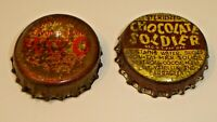Vintage Lot (2) Cork Lined Soda Pop Bottle Crown Caps Chocolate Soldier & Kayo