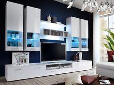Wohnwand Anbauwand Wohnzimmer Schrankwand DORADE mit Hochglanz LED Beleuchtung
