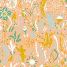 TWO Yards-Happy Floral Organic Poplin Catus Cati Desert Fabric Birch EI-25 Peach