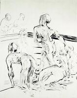 """DDR-Kunst. """"Am Becken"""" 1987. Aquatinta Reinhard MINKEWITZ (*1957), handsigniert"""